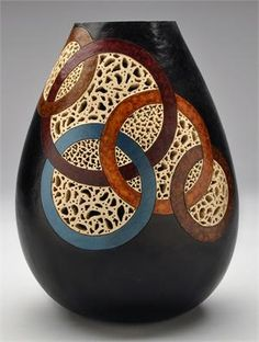 Gourd Art Class: Templates, Filigree and Geometrics Tickets, Sat . Decorative Gourds, Hand Painted Gourds, Bottle Art, Bottle Crafts, Dremel, Pottery Painting Designs, Sculptures Céramiques, Gourd Lamp, Wood Turning