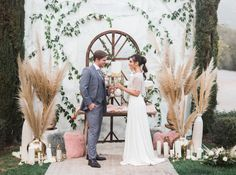 marble backdrop + pampas grass embellishments