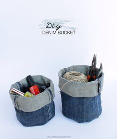 Sturdy denim can stand upright, making it a great fabric choice for storage baskets.  Get the tutorial at Curly Made»