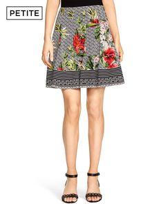 Petite Floral Mix Print Skirt