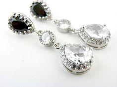 Old Hollywood Bridal Earrings Black Diamond by EstyloJewelry, $54.00