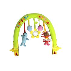 This arch can be attached to any travel system, so little one can play while you're on the go! Igglepiggle has a squeaker and Upsy Daisy has a rattle, shiny mirror in flower. Comes in clear plastic carry case with handle. Night Garden, Travel System, Own Home, Daisy, Arch, To Go, Handle, Plastic, Play