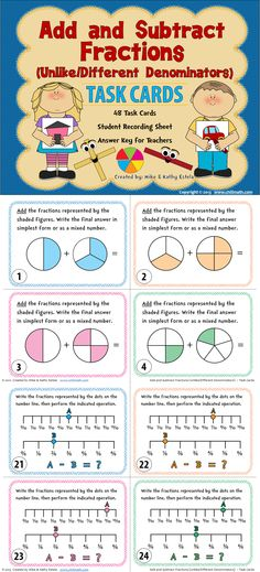 Adding and Subtracting Fractions with Unlike Denominators Task Cards Math Strategies, Math Resources, Math Activities, Math Teacher, Math Classroom, Teaching Math, Adding And Subtracting Fractions, Math Fractions, Math For Kids