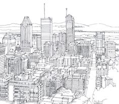 Line Drawing of Montreal by Abigail Daker, via Behance