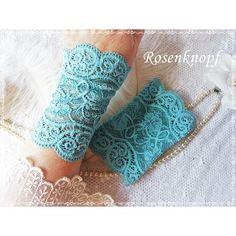 Elegante und feine Spitzenstulpen aus elastischer, Türkis- Azurfarbener Spitze♥