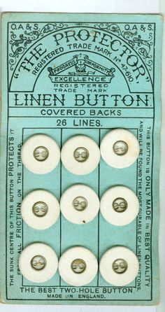 #ButtonartMuseum.com - Original Card w/9 Linen Fabric Antique/Vintage Buttons in Antiques, Sewing (Pre-1930), Buttons
