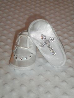 Baby Bling Satin Shoes with SWAROVSKI Rhinestone Cross for Baptism Christening  Bling Shoes 7c1cc5bf1387