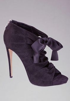 Ribbons and bows ready for the holiday season.   Bebe Mckenzie Satin Bow Booties #womensfashion2013 #partydress