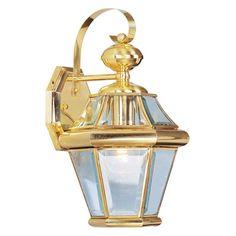 Livex Georgetown 2161-02 Outdoor Wall Lantern - Polished Brass - 8.25W in. - 2161-02