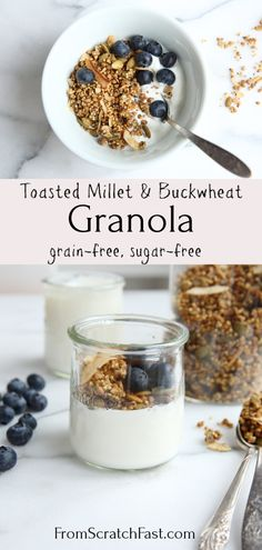 This protein-packed toasted buckwheat and millet granola is a crunchy and delicious alternative to regular oat-based granola! Its gluten-free vegan grain-free and can even be made sugar-free. Sugar Free Granola, Gluten Free Granola, Grain Free Granola, Gluten Free Breakfasts, Gluten Free Recipes, Gourmet Recipes, Freezer Recipes, Drink Recipes, Vegan Recipes