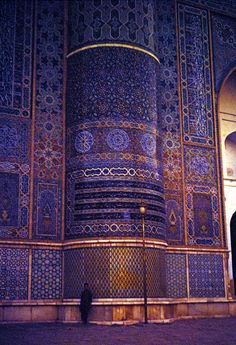 1970 Herat Mosque: Masjed-Jameh (mosque) of Herat city, western Afghanistan. The photo shows one of the columns of western Shabestan. Shabestan (=nightland) is part of a mosque for sleeping or nocturnal prayers.