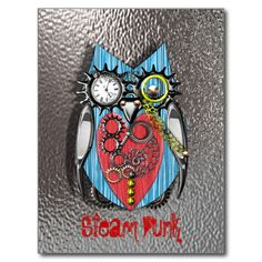A Quirky funny Steam Punk style design of a cute mechanical owl in red, blue, yellow and silver make this a really cute and unusual postcard.