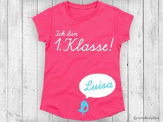 Kinderkleidung: T-Shirt zur Einschulung mit individuellem Namen / kids fashion: t-shirt for school enrollment with individual name made by rotekirschen via DaWanda.com