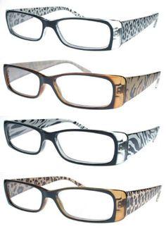 8feb9a6175e Fiore(TM) Animal Print Rectangular Reading Glasses Light Weight 4-Pack (3.00