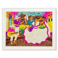 Novica Folk Dancers Nicaraguan Corn Husk Collage Musicians by Juan Carlos Moreno Original Painting