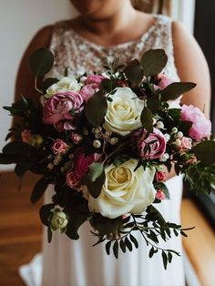 A beautiful pink & white rose bouquet lovingly picked by Bookers Flowers & Gifts. Wedding Flowers - White, Pink, Summer, Stunning, Liverpool