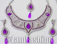 Silver Plated Bollywood CZ Kundan Jewellery Stunning Necklace Set n01