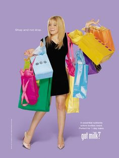 """Hillary Duff explained the virtues of drinking milk before going on a shopping spree. 23 """"Got Milk?"""" Ads That Will Take You Back To The Early Weight Loss Inspiration, Fitness Inspiration, Got Milk Ads, Celebrity List, Hilary Duff, 90s Kids, Shopping Spree, The Duff, Childhood Memories"""