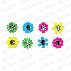 Flower Monogram Frame SVG, Monogram Design, Monogram SVG Files, SVG files for Cricut Silhouette, svg cutting files, Frame svg, svg monogram - pinned by pin4etsy.com