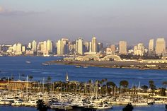 Point Loma, Coronado's Naval Air Station North Island, and the downtown San Diego skyline