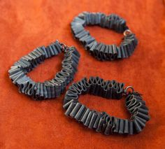 Bicycle Inner Tube Bracelets -- Set of 3. $30.00, via Etsy.