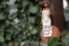 Puppenkleidung - gestricktes Kleid mit Spitze *** für Barbie *** - ein…