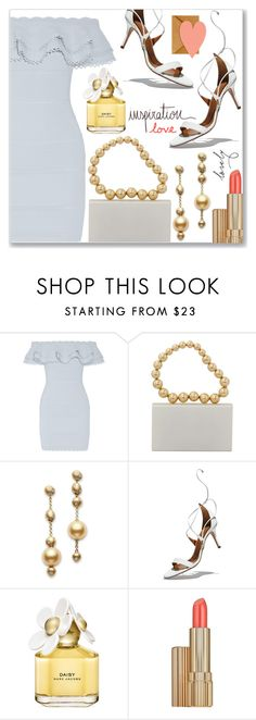 """""""Inspiration of the day"""" by dressedbyrose ❤ liked on Polyvore featuring Alexander McQueen, Charlotte Olympia, Mikimoto, Aquazzura, Marc Jacobs and Estée Lauder"""