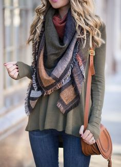 brown blanket scarf, olive shirt, jeans