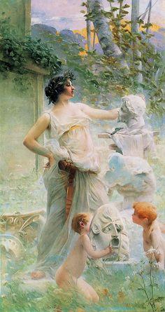 """Paul François Quinsac (French, 1858-1932), """"La Sculpture""""♥"""