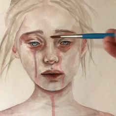 Painting by Shannon Perrie (Perriewinkles) – Malerei Watercolor Eyes, Watercolor Portraits, Watercolor Painting, Inspiration Art, Art Inspo, Art Triste, Art Sketches, Art Drawings, Deep Art