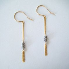 Long Earrings - Gold Filled and Smoky Silver