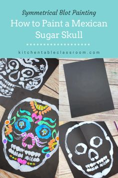 Learn how to paint a sugar skull with a special focus on the concept of symmetry. Halloween Art Projects, Fall Art Projects, School Art Projects, Projects For Kids, Kindergarten Art, Preschool Art, Back To School Art, Art School, Classe D'art