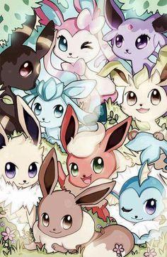 Pokemon - Eeveelutions are so cute ! Pokemon Fan Art, Gif Pokemon, Pokemon Eeveelutions, Pokemon Fusion, Mudkip, Digimon, Pokemon Mignon, Photo Pokémon, Chibi