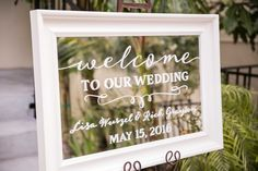 Welcome Sign with Calligraphy on Mirror | Photography: Laurie Bailey Photography. Read More:  http://www.insideweddings.com/weddings/classic-california-wedding-with-outdoor-ceremony-indoor-reception/853/