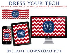 Red Chevron, Blue Frame & Monogram iPhone/iPad/Computer Wallpapers and Facebook Cover Photo