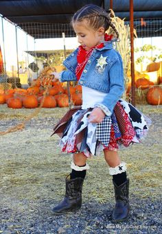 Cowgirl Tutu Skirt Scrappy Tutu Fabric Scrap Tutu Size Newborn to 4T Rootin…