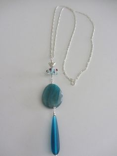 Sterling Silver With Agate And Glass Artisan by JKCustomDesigns
