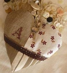 Heart shaped lavender sachet in French shabby chic style... could use any cross stitch sampler