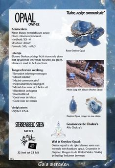 Owyhee Opaal - uitleg en werking edelstenen - Gaia Gems Minerals And Gemstones, Rocks And Minerals, Crystals And Gemstones, Stones And Crystals, Wiccan Magic, Crystal Healing Stones, Chakra Crystals, Natural Stones, Birthstones Chart