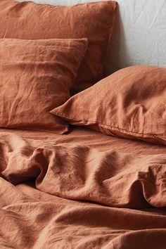 Ultra luxurious pure French linen quilt cover in Desert Rose Linen Sheets, Bed Linen Sets, Linen Duvet, Orange Pillow Covers, Orange Pillows, The Sims, Bedroom Decor On A Budget, Bedroom Inspo, Color Bordo