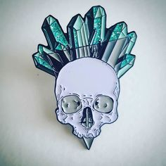 #Repost @sharkpins A closer look at our new skull and crystals pin! Glitter…