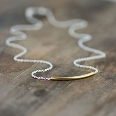 Minimalist Gold & Silver Necklace / Curved Tube Simple Bar Necklace / Everyday jewelry on Etsy, $26.00