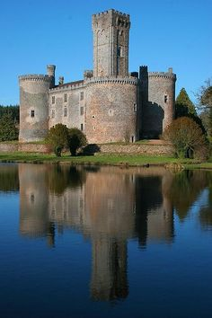 Château de Montbrun, in the commune of Dournazac in Haute-Vienne département, Limousin, France. It was built in the & C, and restored in the late C. Chateau Medieval, Medieval Castle, Limousin, Beautiful Castles, Beautiful Buildings, French Castles, Castle Ruins, Palaces, Dordogne