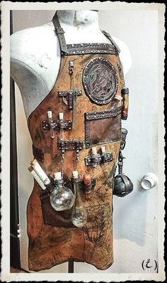 Leather Apron Alchemist Steampunk RESERVED for by ILeatherCraft Super Hero shirts, Gadgets