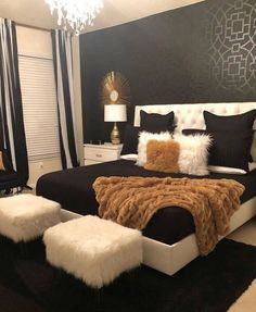 Black White & Gold Bedroom - Home - Bedroom Decor Room, Home Decor Bedroom, Living Room Decor, Bedroom Ideas, Diy Bedroom, Bedroom Designs, Modern Bedroom, Girls Bedroom, Bedroom Themes