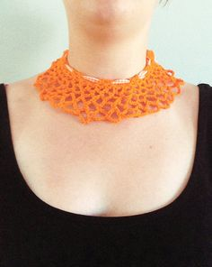 Orange crochet lace collar by DonutDuo on Etsy, €8.00