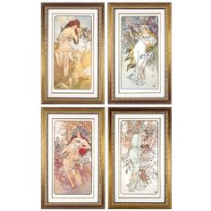 """6393 """"THE FOUR SEASONS 1896"""" ART PRINT BY ALPHONSE MUCHA ❤ liked on Polyvore featuring home, home decor, wall art, fall home decor, grapes home decor, tree branch wall art, spring home decor and branch wall art"""