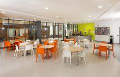 Orange and White Dining Area, Schools, Centre, 21st, Orange, Table, Furniture, Home Decor, Decoration Home