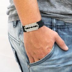 Men leather bracelet razor bracelet Men's Leather by Magoojewelry
