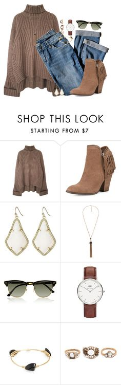 """Tassel booties & turtleneck"" by classycathleen ❤ liked on Polyvore featuring J.Jill, Dolce Vita, Kendra Scott, Violeta by Mango, Ray-Ban, Daniel Wellington, Bourbon and Boweties and Forever 21"
